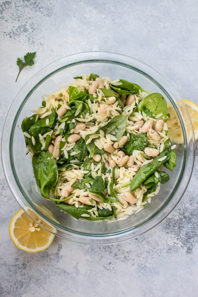 Spinach Orzo Salad with White Beans • Salt & Lavender