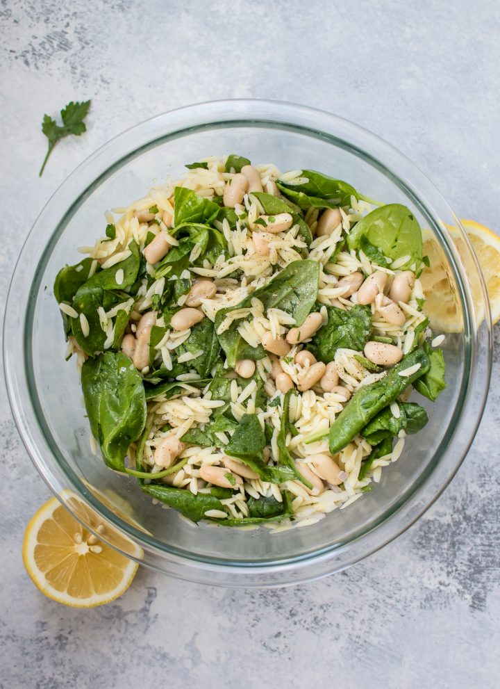 This spinach orzo salad with white beans is a simple and healthy summer side dish with the fresh flavors of lemon and basil.