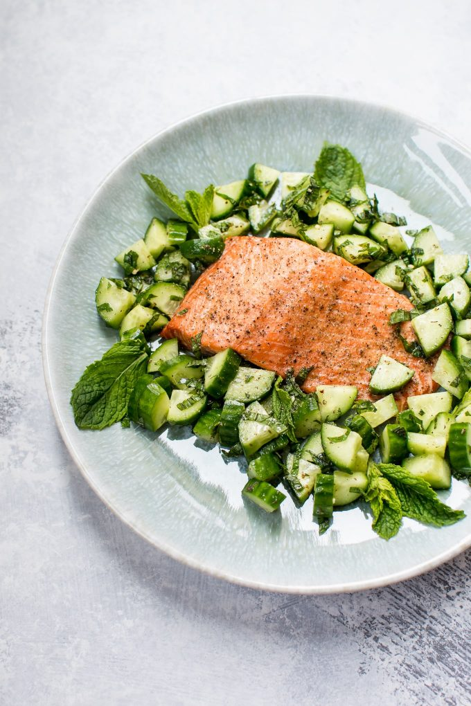This healthy baked salmon with cucumber mint salsa is a quick, tasty, and fresh meal!