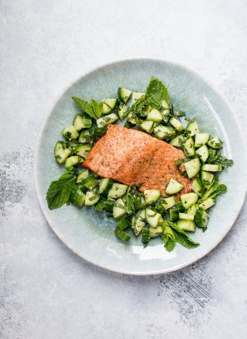 Baked Salmon with Cucumber Mint Salsa