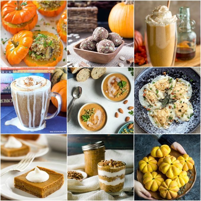 collage with nine photos from roundup of 20 healthy pumpkin recipes