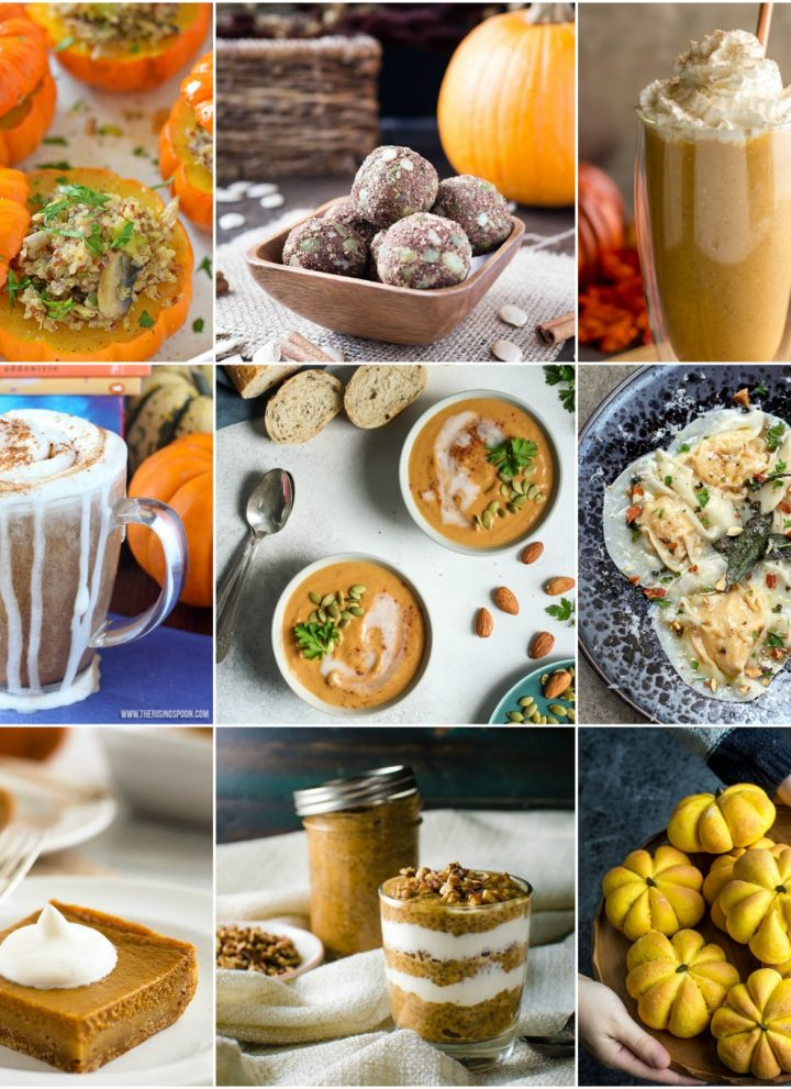 This roundup of 20 healthy pumpkin recipes will satisfy your pumpkin cravings all fall long! Half the recipes are sweet, and half the recipes are savory.