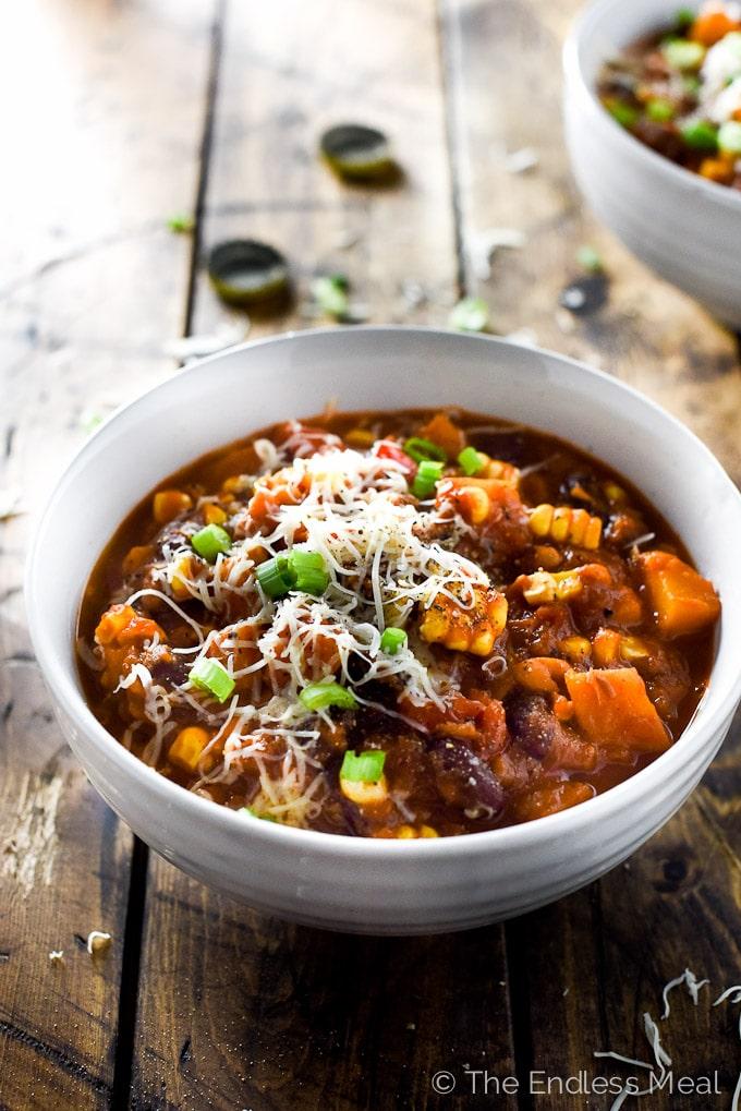 chipotle bourbon pumpkin chili in a white bowl