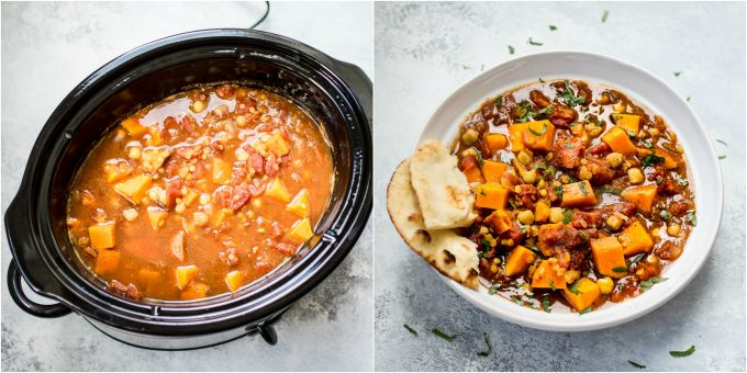 Vegan sweet potato curry in the slow cooker collage photo.