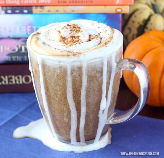 vegan homemade pumpkin spice latte in a glass mug