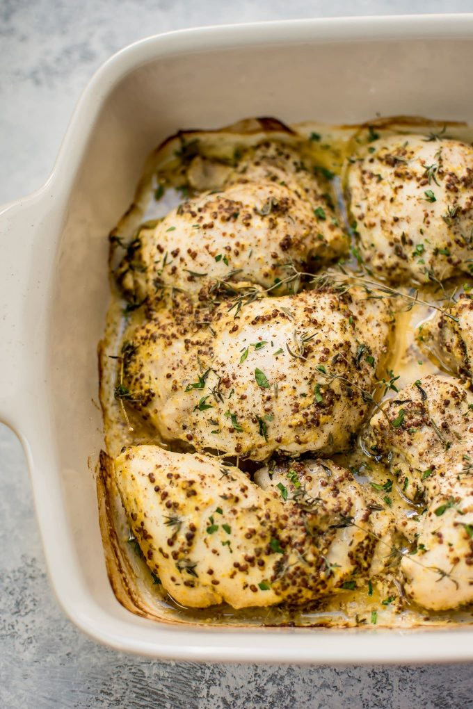 close-up of easy roasted mustard chicken thighs