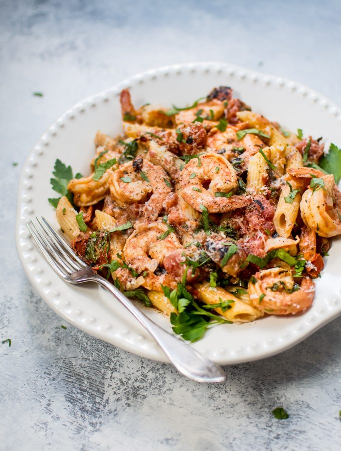 Spicy Shrimp Pasta with a Roasted Tomato Sauce