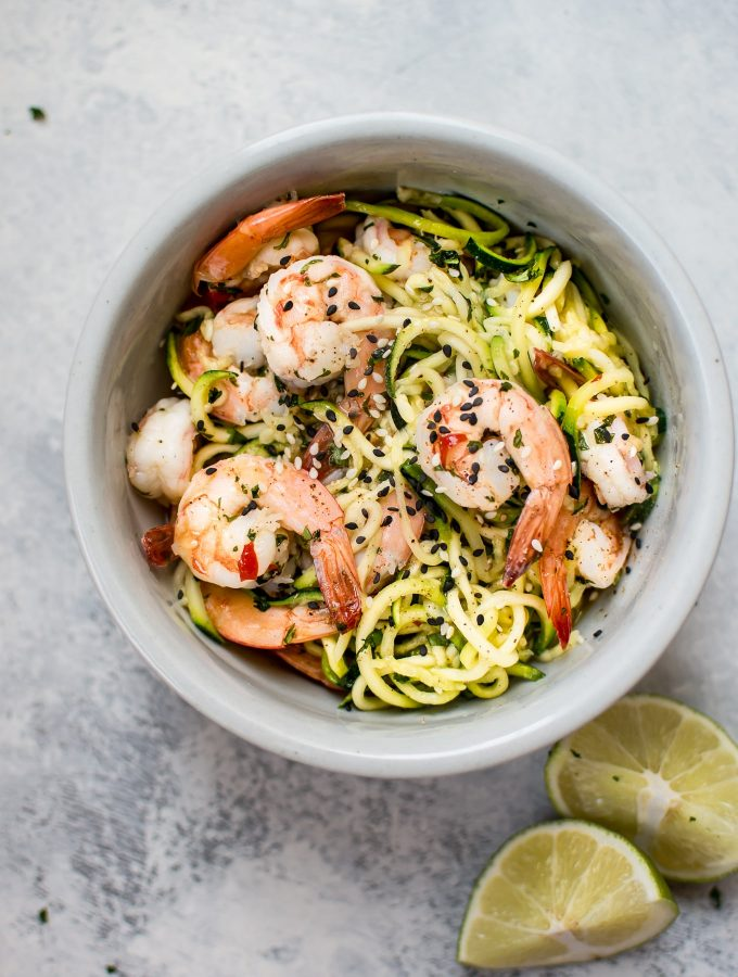 15 Minute Sweet Chili Shrimp Zoodles