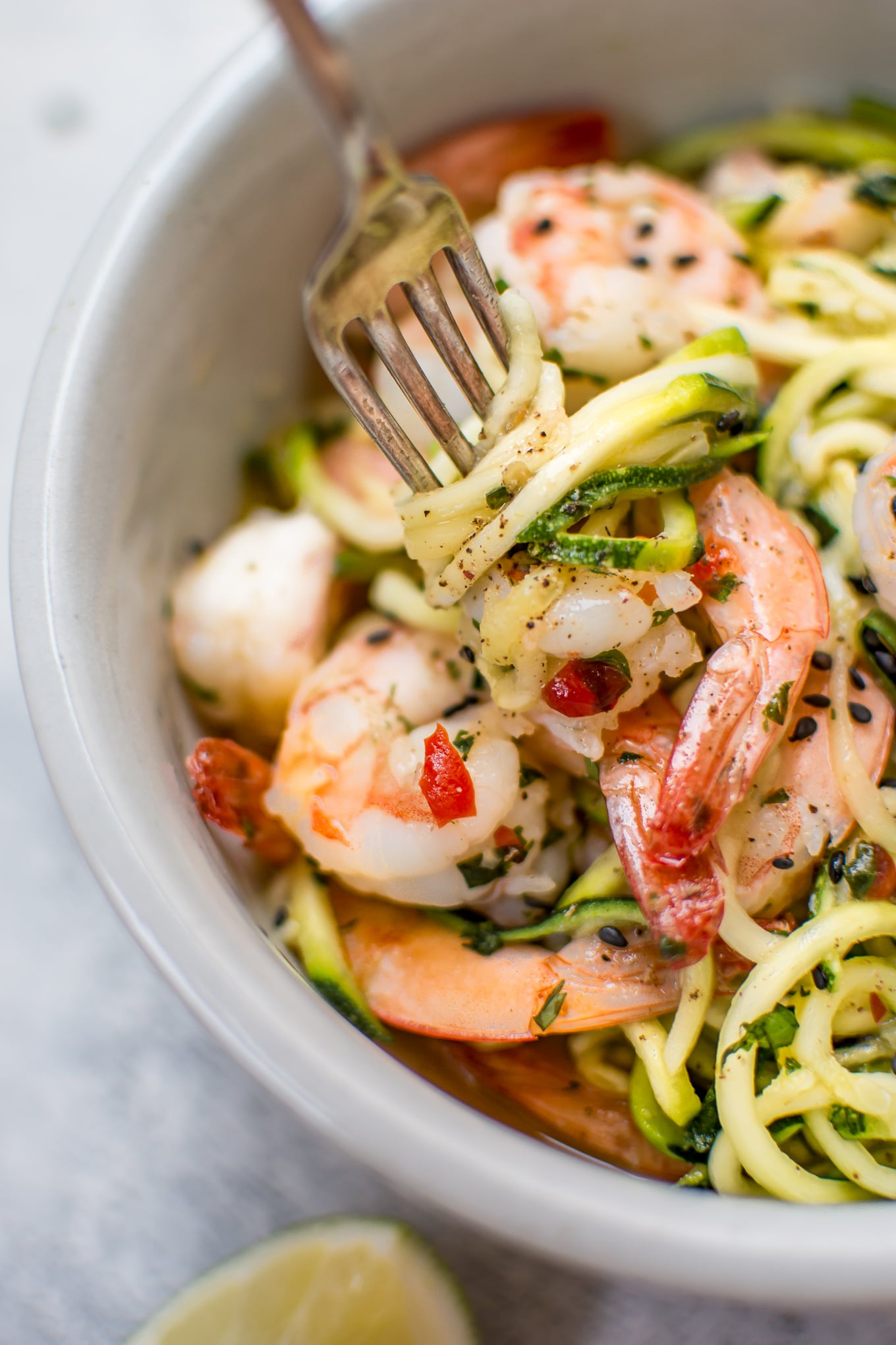 These sweet chili shrimp zoodles are a healthy, flavorful, and tasty low-carb meal that's ready in only 15 minutes!