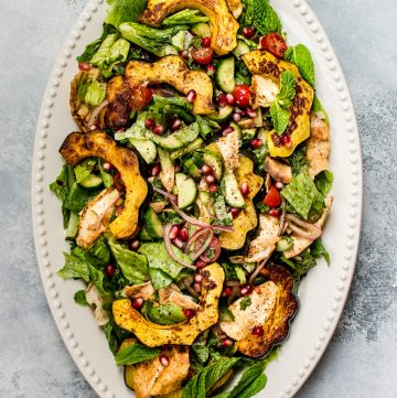 This fall fattoush salad recipe is fresh, bright, healthy, and given an autumn twist with roasted acorn squash. A beautiful addition to your dinner table!