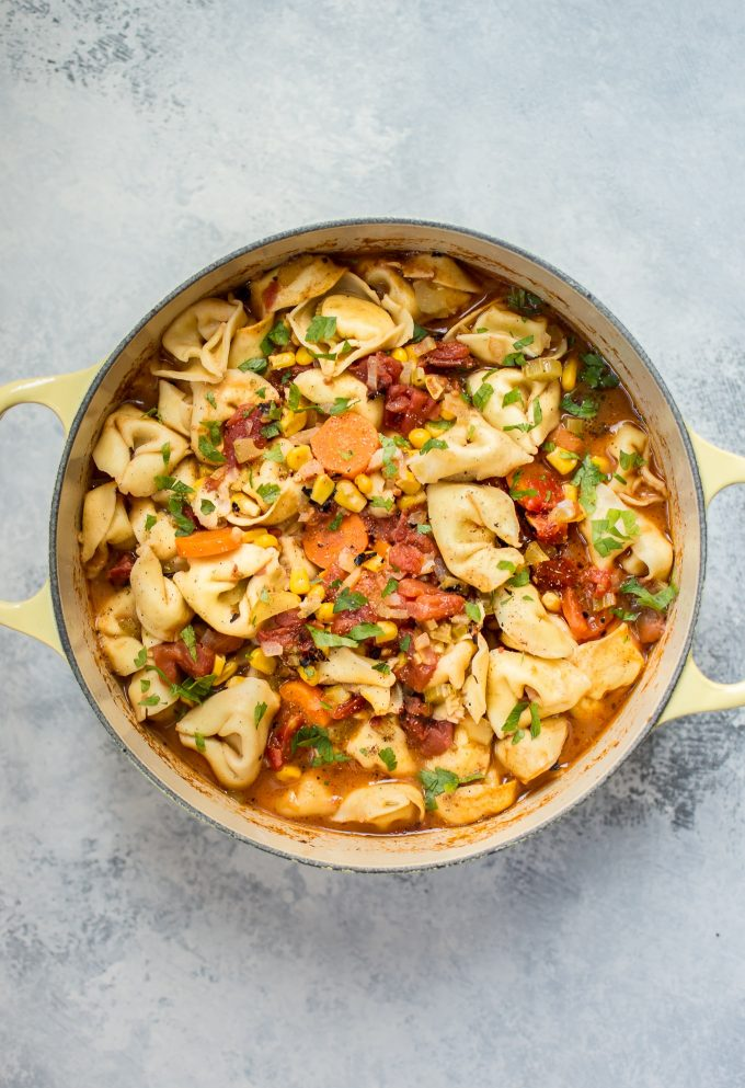 yellow pot with vegetarian tortellini soup