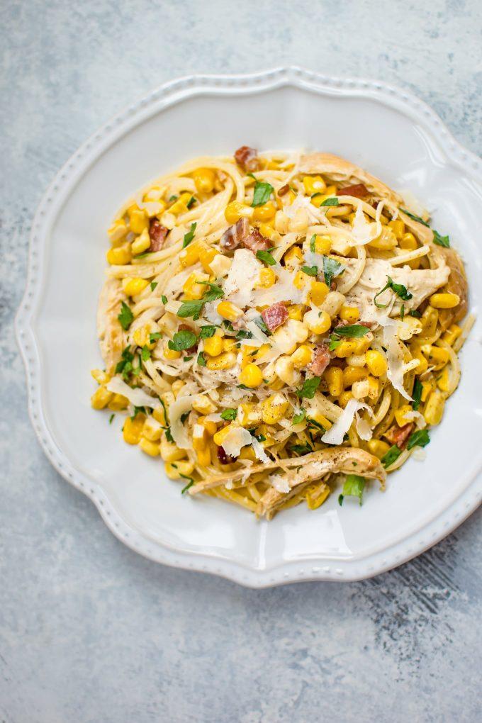 creamy turkey pasta in a white bowl
