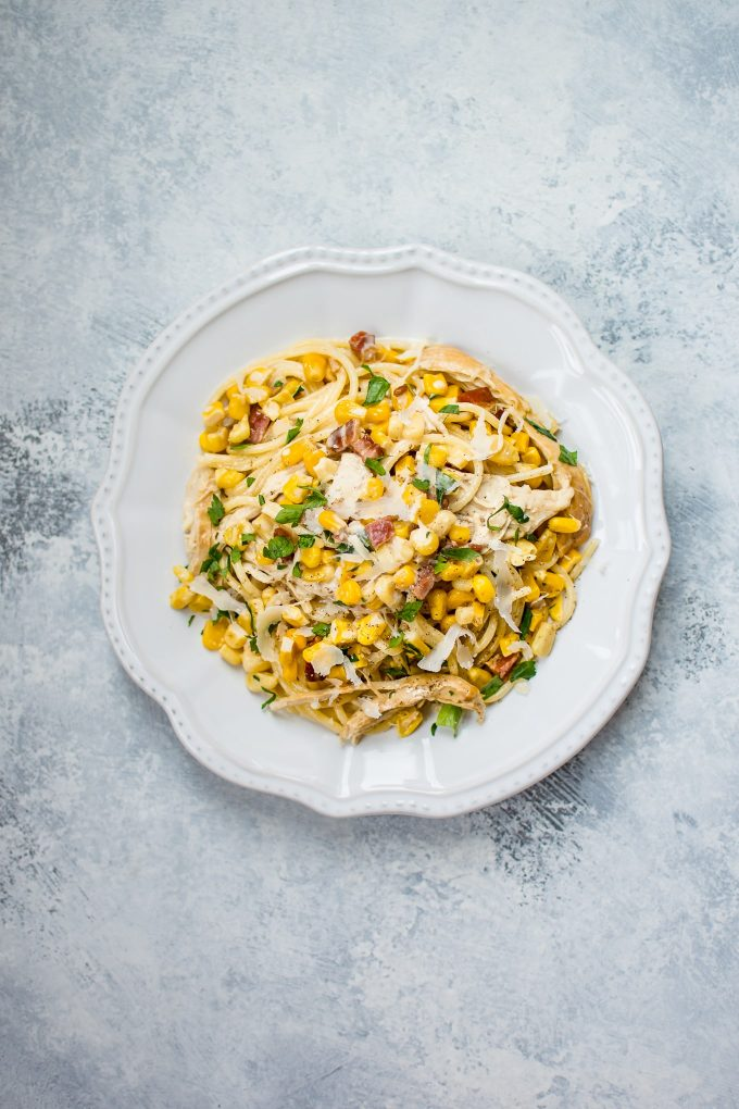 This easy creamy leftover turkey pasta recipe is the perfect way to use up your Thanksgiving turkey leftovers! Ready in only 20 minutes.