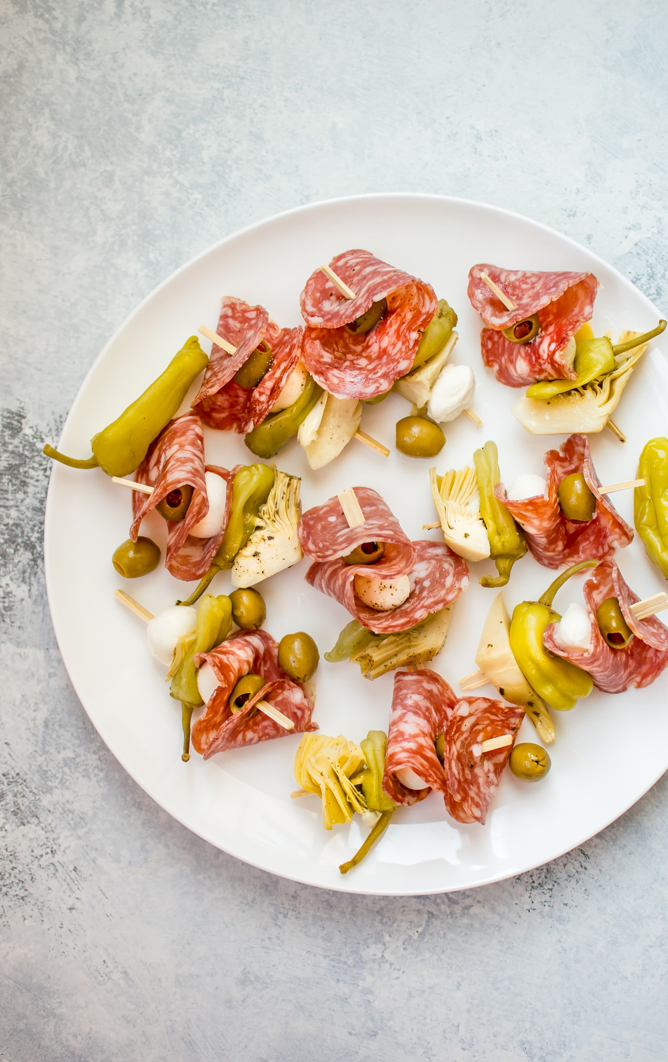 These easy antipasto skewers are fresh, colorful, delicious, and come together fast. They're also simple to store and transport without much fuss.