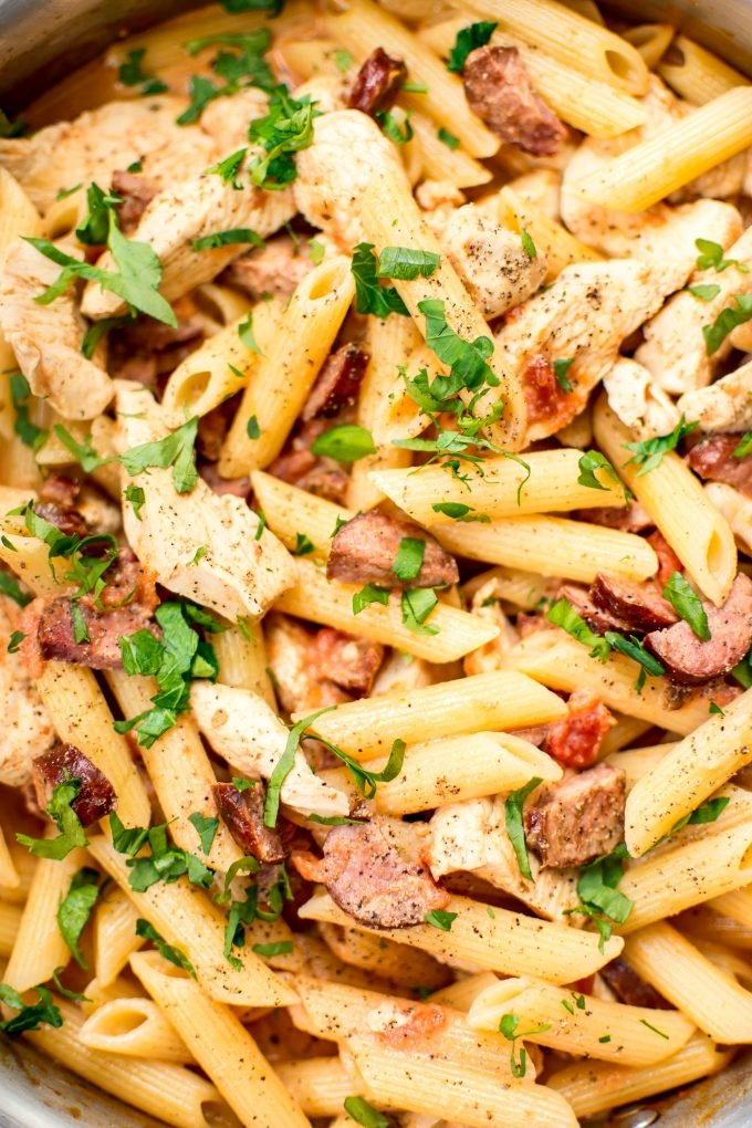 This chicken and chorizo pasta recipe is flavorful, easy, and comes together fast! Perfect for a weeknight dinner or easy entertaining.
