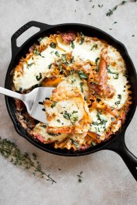 cast iron skillet with healthy lasagna