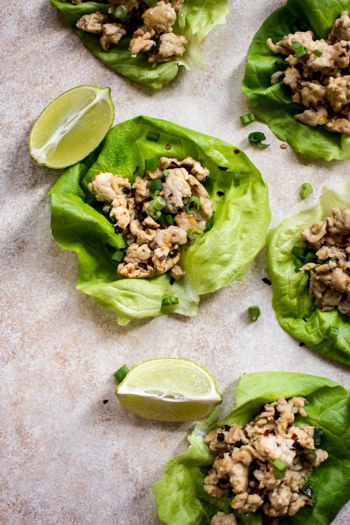 These sweet chili chicken lettuce wraps are easy, delicious, and ready in only 15 minutes! They make the perfect low-carb light meal or appetizer.