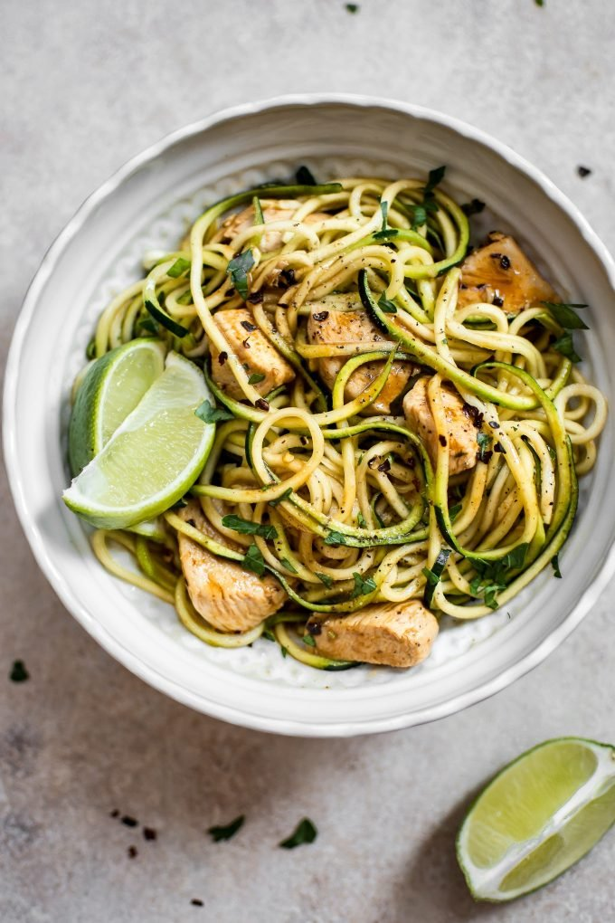 These sweet and spicy chicken zoodles are a quick and easy low-carb recipe that's fresh and flavorful. Ready in 15 minutes!
