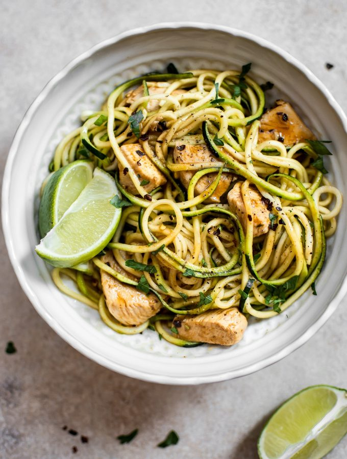15 Minute Sweet and Spicy Chicken Zoodles