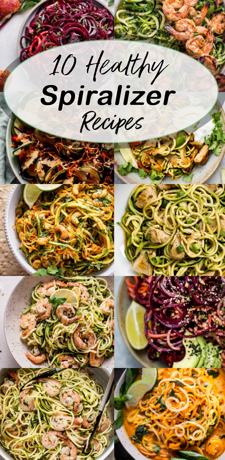 These 10 healthy spiralizer recipes are easy, delicious, low-carb, and simple to make. You just need a spiralizer and you're on your way! #spiralizer