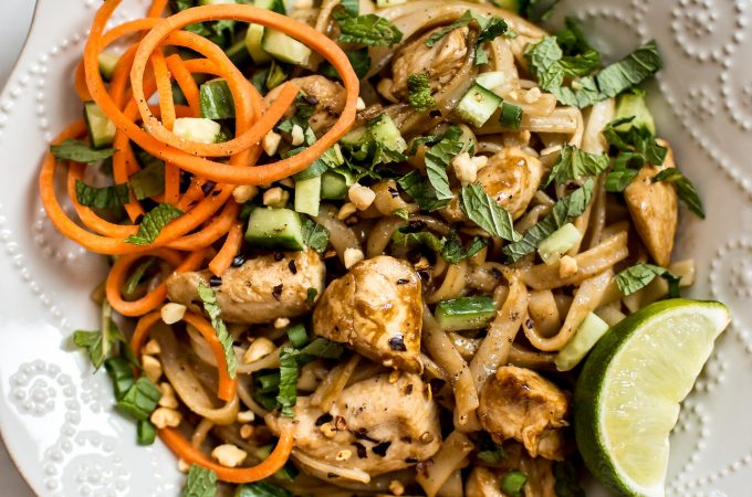 This chicken stir fry with rice noodles is easy, fresh, healthy, and totally delicious! It comes together fast, and you will love the sweet and savory sauce.