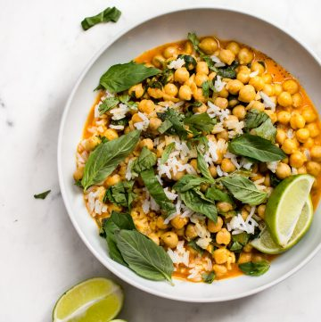 This quick and easy veganchickpea coconut curry is ready in less than 15 minutes! It's fresh, healthy, and delicious. Great served over rice!