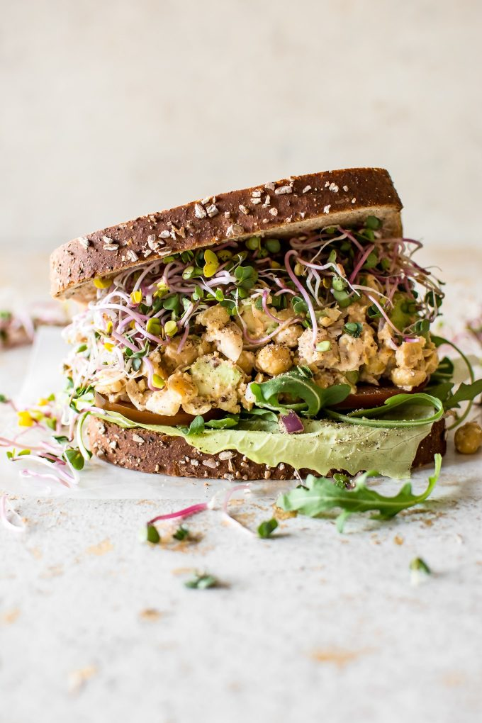 This smashed chickpea salad sandwich recipe is healthy, satisfying, fresh, and delicious! A quick and easy light meal idea.