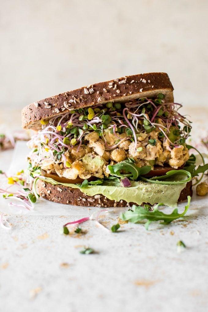 chickpea salad sandwich close-up