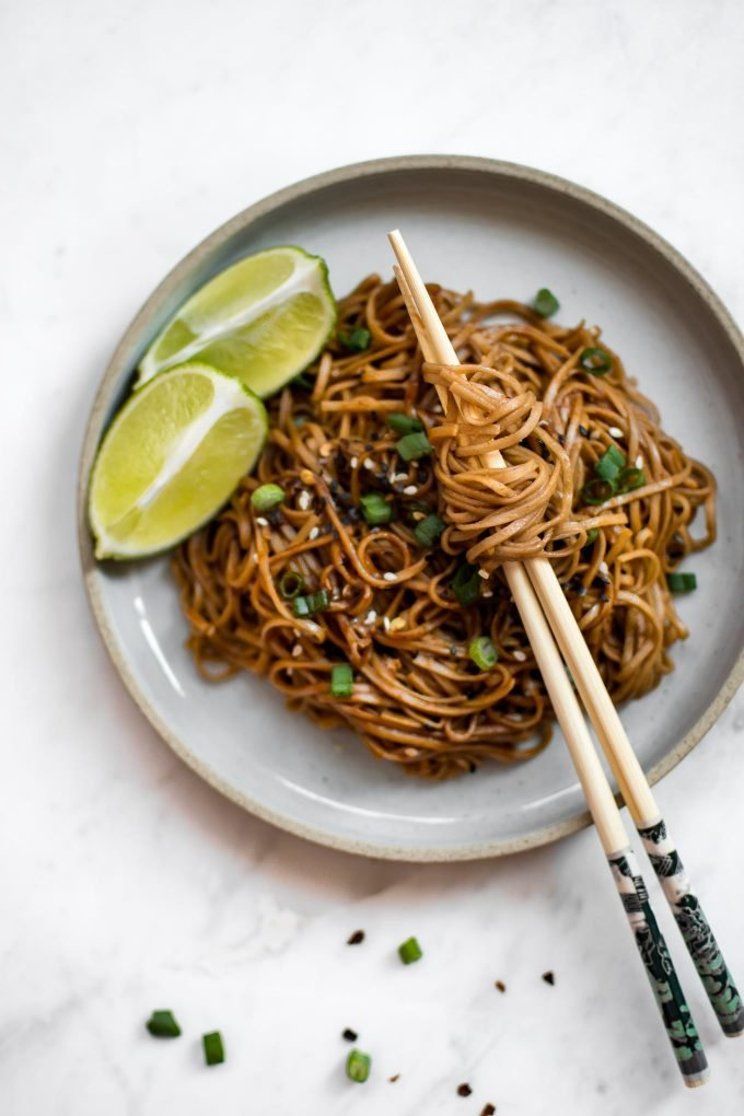 These spicy chili garlic noodles are fast, incredibly flavorful, and vegan. They're super easy - this dish is ready in under 15 minutes!