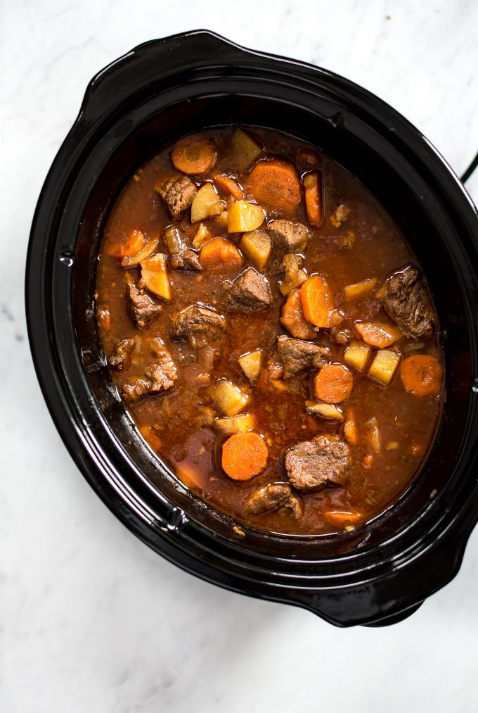 easy beef stew inside a Crockpot