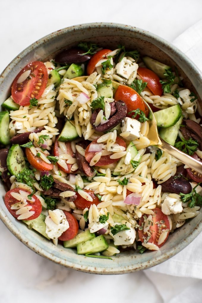 This Mediterranean orzo salad is easy, fresh, healthy, and quick! The perfect healthy side dish or light meal.