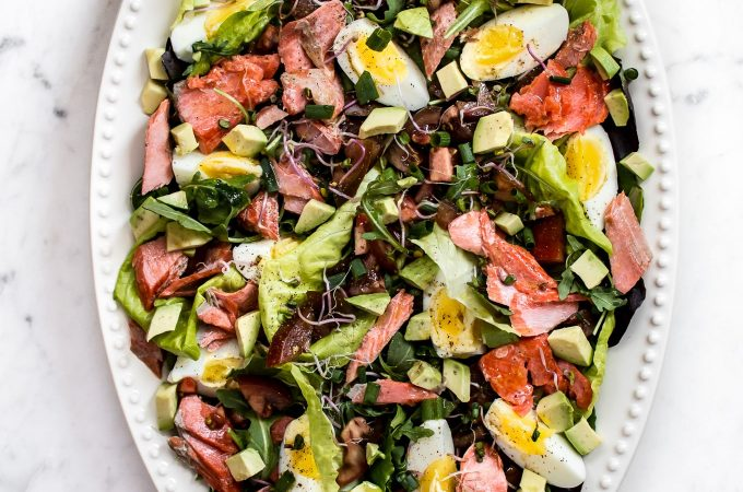 This salmon Cobb salad recipe is a lighter take on the classic! It's every bit as delicious.