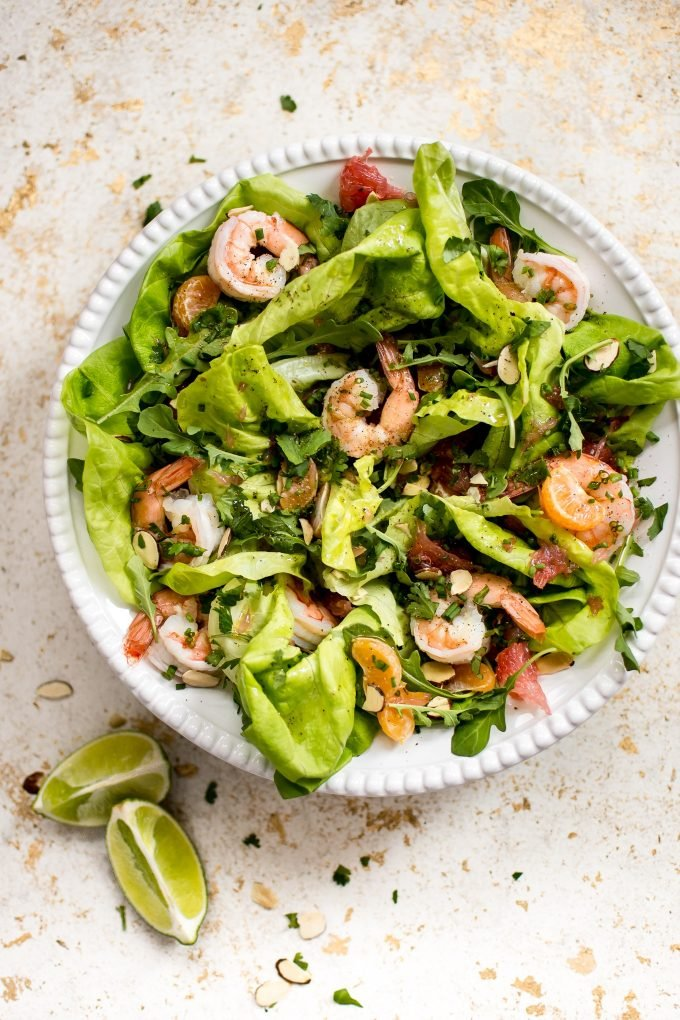 This shrimp and citrus salad is easy, fresh, colorful, and healthy! It comes together quickly and makes a perfectly refreshing and delicious side salad or light main course.