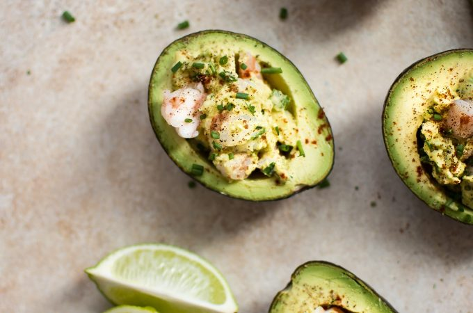 This healthy shrimp stuffed avocado recipe makes a great low-carb snack, appetizer, or light lunch!