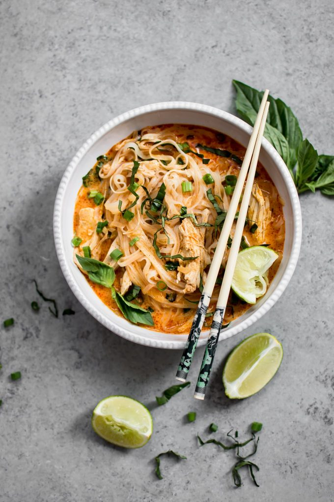 This Thai chicken curry soup is quick, easy, comforting, and full of fabulous flavor. A great way to use up leftover or rotisserie chicken!