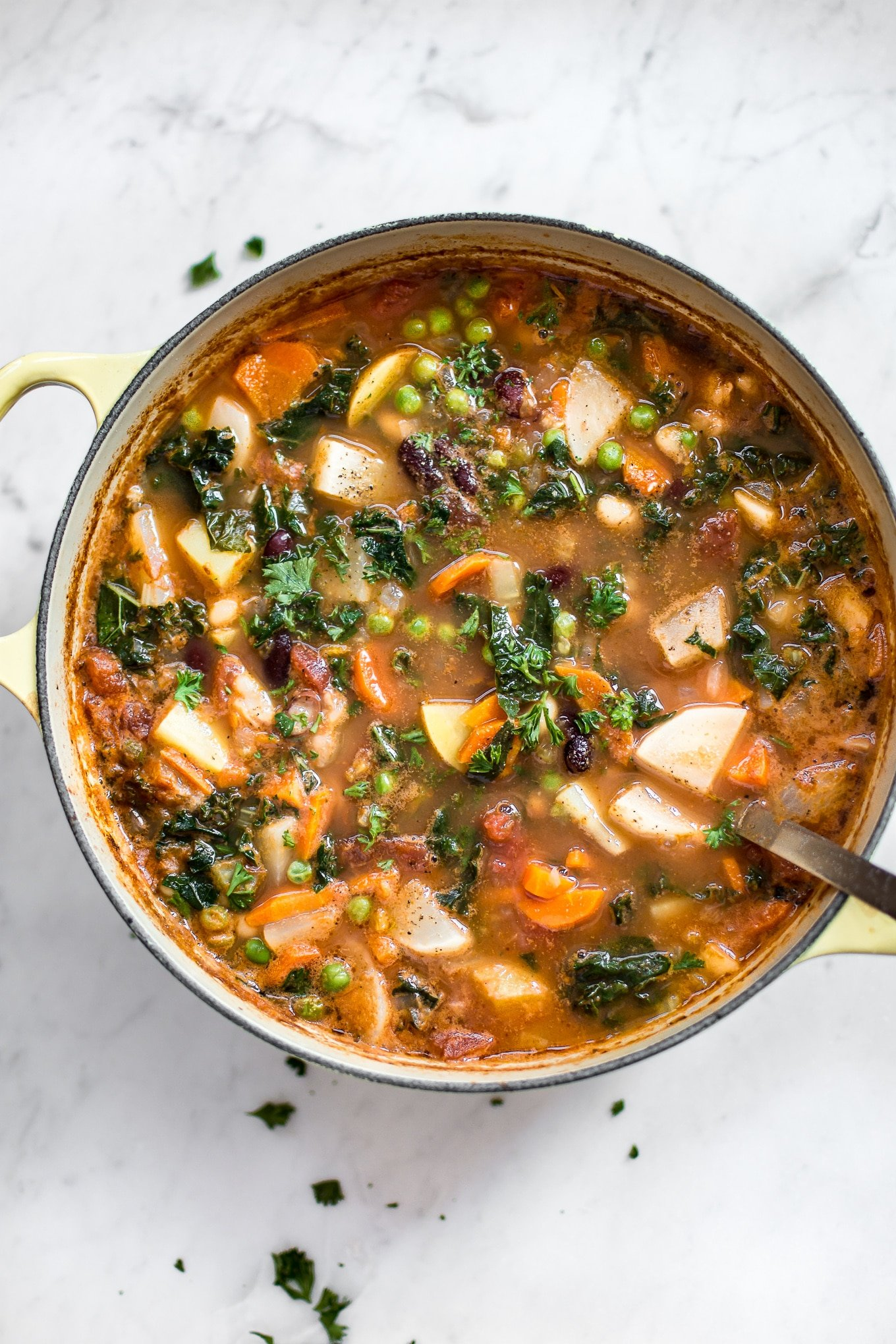 This easy vegetable and bean soup comes together quickly and makes a healthy and hearty meal. You can easily customize it with whatever veggies you have on hand.