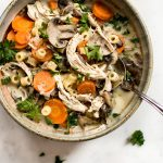 This easy healthy chicken and mushroom soup recipe is hearty and flavorful. It's also a great way to use up leftover chicken and comes together in just over 30 minutes.