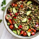 This green lentil salad recipe is healthy, fresh, and totally delicious! It makes a great light meal or side dish.
