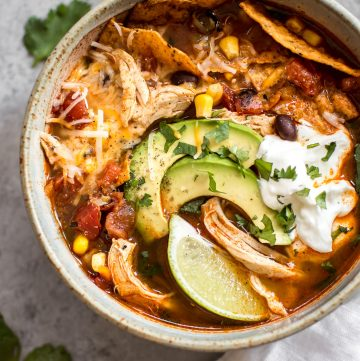 This easyInstant Pot chicken tortilla soup recipetastes like it's been cooked low and slow, but it's fast and requires minimal effort!