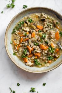 This mushroom barley soup is healthy, hearty, and deliciously comforting. It's easy to make, flavorful, and will warm you up!
