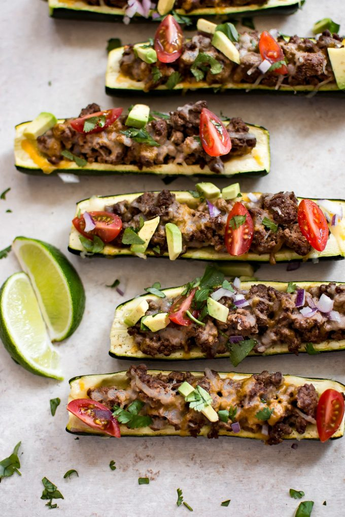 close-up of zucchini taco boats with ground beef