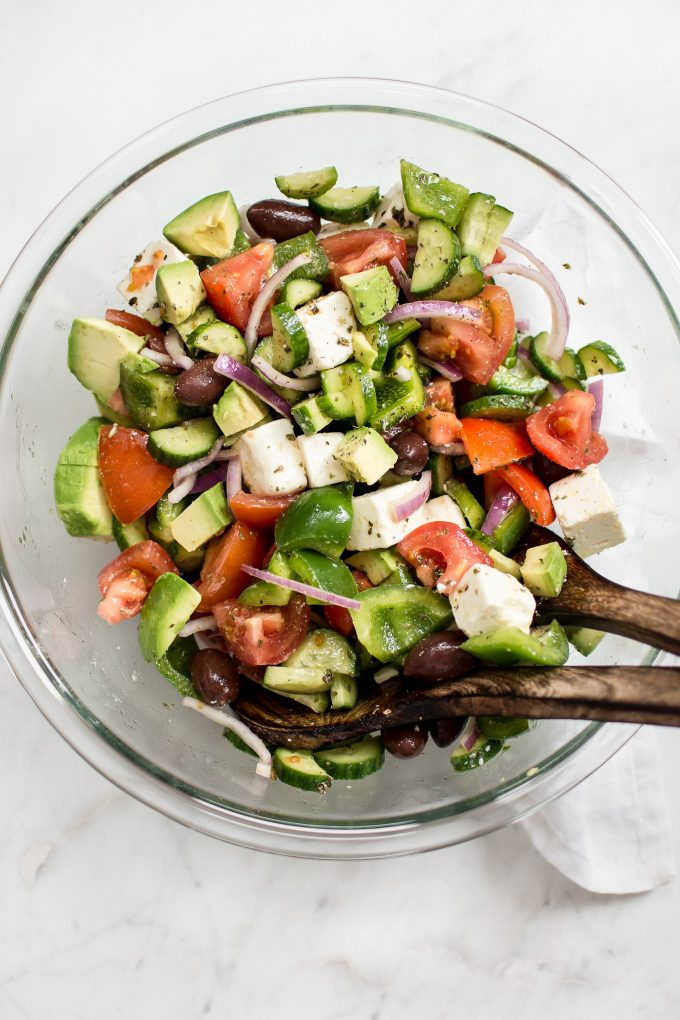 This avocado Greek salad recipe is healthy, fast, and bursting with fresh Mediterranean flavors. This salad is delicious and good for you!