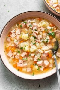 bowl of Instant Pot ham and potato soup