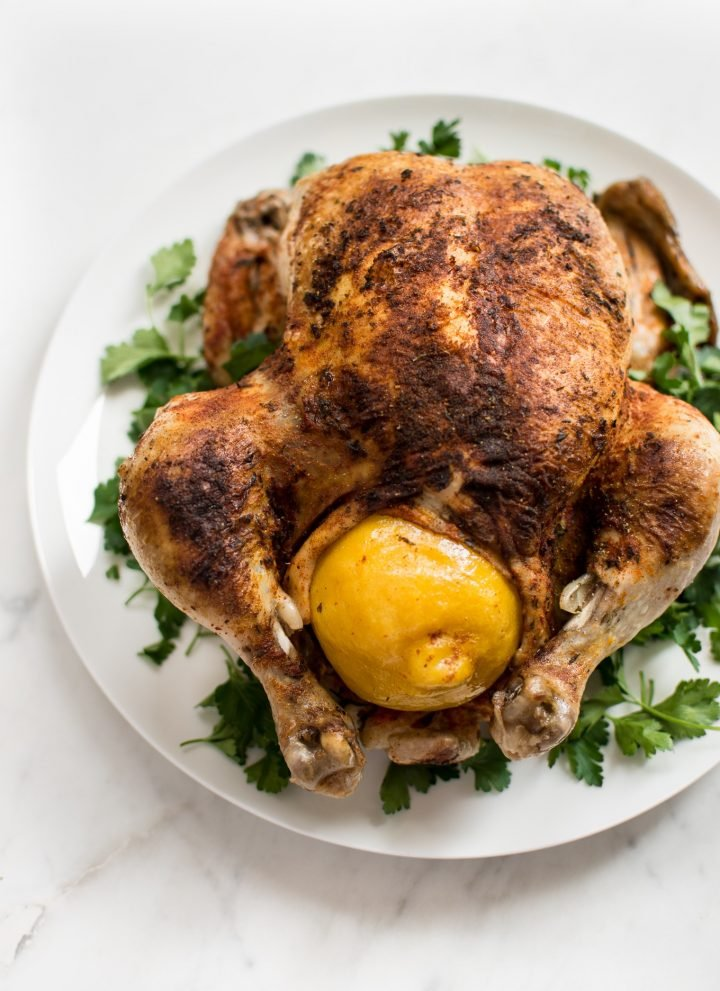 This easyInstant Pot whole chicken recipe is fast, simple, healthy, and makes the best tender chicken. This electric pressure cooker whole chicken is great for a family dinner or to have chicken meat ready for meals throughout the week! The chicken can be stuffed with lemon for extra flavor. Use the leftovers to make stock or bone broth. You can even use frozen chicken in this recipe.