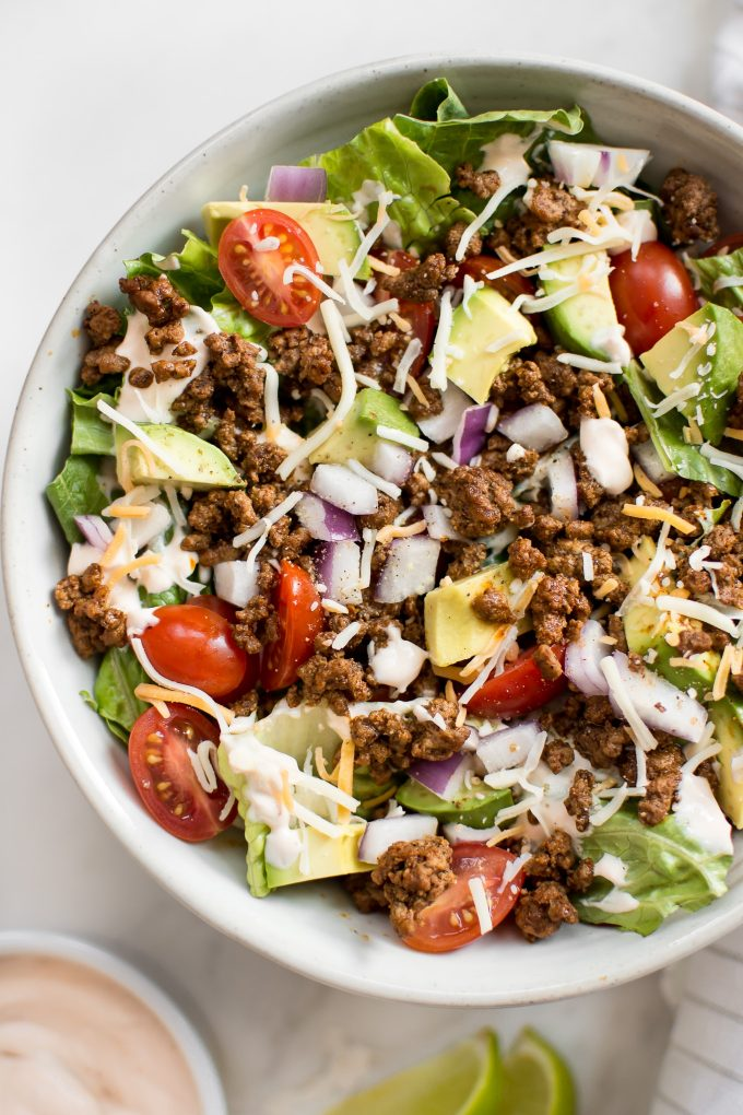 close-up of low carb taco salad in a white bowl