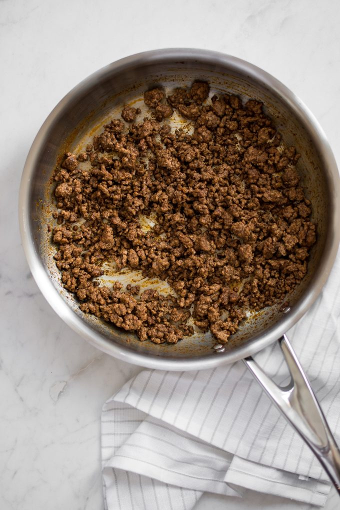 ground beef with southwest seasoning in a skillet