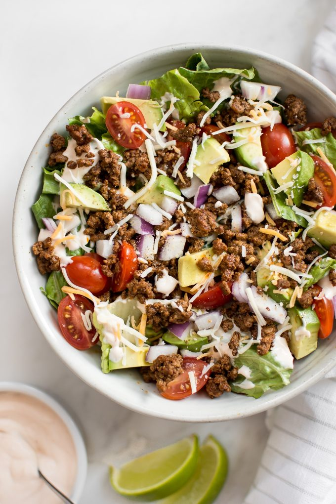 low-carb southwest beef taco salad with avocado in a bowl