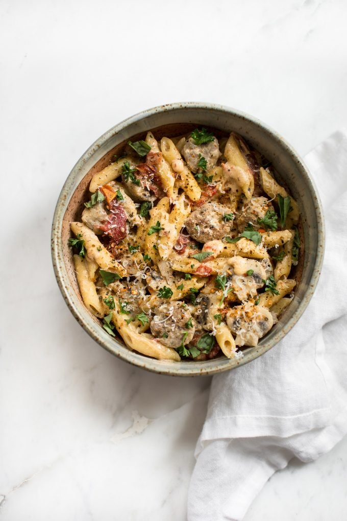 This easy one pot Cajun sausage pasta recipe is flavorful comfort food at its best! Ready in just over half an hour. Perfect for a weeknight dinner.