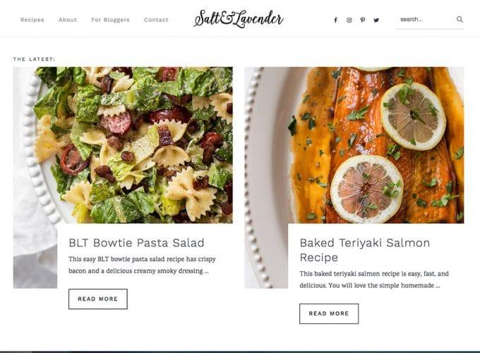 a screenshot of Salt and Lavender\'s new website design