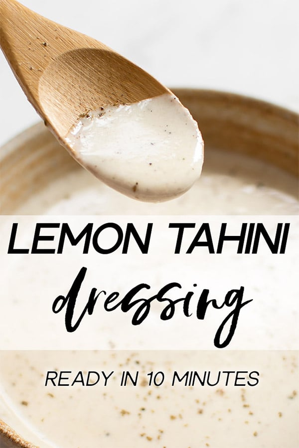 This simple vegan lemon tahini dressing is perfect on salads, roasted vegetables, and grains. It's healthy and delicious. Sweeten it with honey or maple syrup, and add as much garlic as you wish. You can thin it to your desired consistency. Quick & easy!